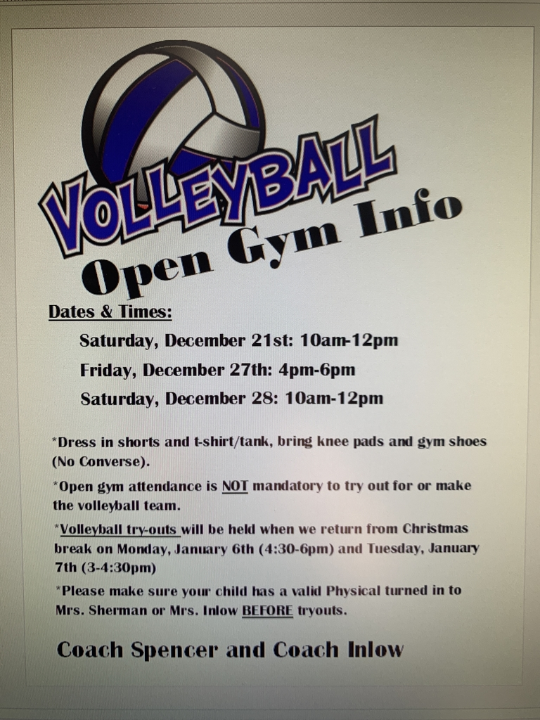 Volleyball open gym / try out information.